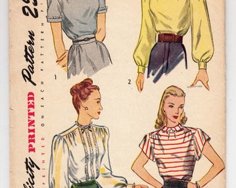 "Vintage Sewing Pattern 1940's Ladies Blouses Long or Short Sleeves Simplicity 1906 32"" Bust - Free Pattern Grading E-Book Included"