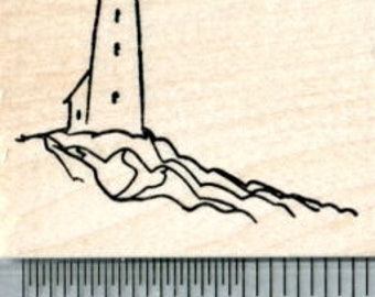 Lighthouse Rubber Stamp E32231 Wood Mounted