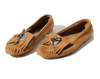 Vintage Bronze Tan Italian Moccasin Shoes / size 9