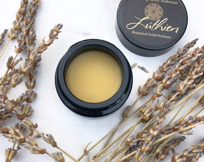 Lúthien Botanical Solid Perfume ~  Mediterranean breezes of calming lavender with hints of citrus, white sage, forest pine, labdanum & moss