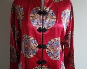Red Silk Mandarin Blouse with Dragon Medallions
