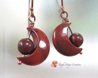 Crescent Moon Earrings, Celestial Jewelry, Gemstone Earrings, Earthy Jewelry, Red Poppy Jasper Stone, Boho Gift for Women, Rustic Copper