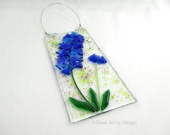 Bluebonnet Wildflower Suncatcher Fused Glass Wall Hanging