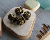 Antiqued brass barrel beads , ethnic style pattern, metal  rondelle spacer, plated oxidized tone 5 x 7mm , 3mm hole (10 beads)7As1470