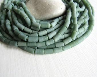light green glass beads,  tube lampwork beads, opaque matte finish ,  boho ethnic supplies from Indonesia 6 x 10mm long (20 beads) 6CB13-4