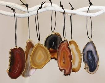 Earthtone Agate Slice Ornaments One of a Kind Ornaments Geode Stone Ornaments Unique Gifts Geode-ORN-101-Earthtones