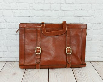 Vintage Brown Leather Bag Briefcase Satchel