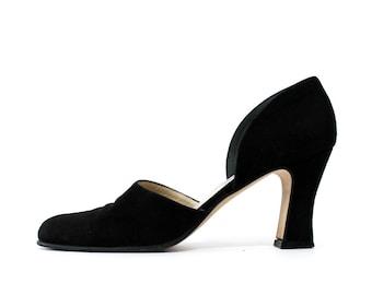 SALE - 1990s Anne Klein Black Suede Mules Heels