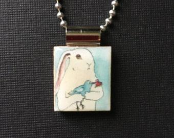 bunny with bird necklace, Valentine's Day Jewelry, handmade valentine jewelry, Nakisha VanderHoven necklace, handmade jewelry, valentine