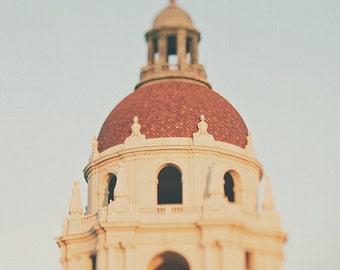 Pasadena photography, photo of Pasadena City Hall, architecture print, Los Angeles decor, California wall art, brown, cream, Myan Soffia