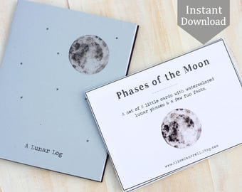 Moon Bundle - Phases of the Moon Cards with Lunar Log Cover + 4 Pages Printable PDF, Montessori, Educational, Full Moon, Stars, Astronomy