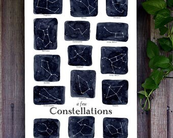 Home School Poster - A Few Constellations - 13 x 19 - Stars, Montessori, School Chart, Educational, Astronomy, Nature Study