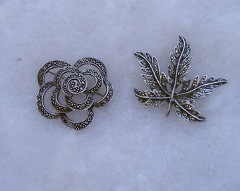 Two Vintage Sterling Silver 925 Marcasite Flower Rose Leaf Pins Brooches Lot