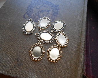 6 pcs antique gold cameo frame setting charms - vintage brass cameo cab charms - old new stock jewelry supplies