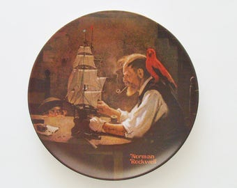 "Vintage ""The Ship Builder"" Plate / Norman Rockwell 1980 Limited-Edition Heritage Collection / Edwin M. Knowles China / Unique Gift Under 50"