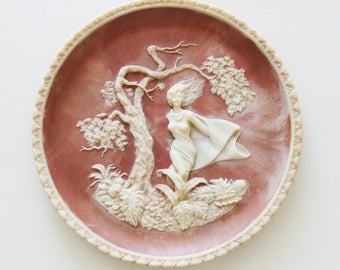 "Vintage ""She Was a Phantom of Delight"" Plate / 1980 Carved Incolay Solid Stone  / Romantic Poets - Wordsworth  / Unique Gift Under 50"