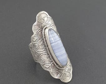 Blue Lace Agate Saddle Ring, size 9 ring, sterling silver, blue lace agate ring, silver saddle ring, boho ring, bohemian ring, michele grady