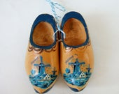 RESERVED for AGATE Vintage Wooden Clogs - Miniature Dutch Clogs with Blue Windmill - Souvenir of Holland