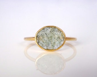 Moss Aquamarine Stacker Ring, Recycled Yellow Gold, Stackable Gemstone Ring, Stacking Ring, Birthday or Gift or Wife,