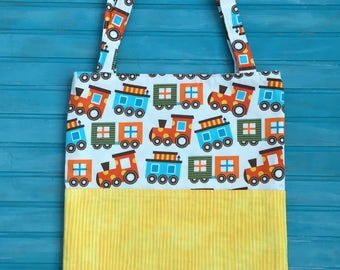 Crayon Tote Bag- Activity Tote Bag- Toddler Tote Bag- Trains