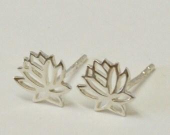 Lotus Earrings, Lotus Flower Earrings, Sterling Silver Yoga Jewelry, Lotus Post Earrings, Gift for Yoga Lover, Studs, Stud Earrings