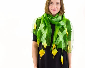 Silk scarf, Silk and felt scarf, Hand painted scarf, felted scarf, Boho scarf, Unique handmade silk and felt scarf, Kate Ramsey, individual