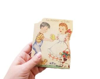 Vintage Easter Card - For Mommy at Easter - Unused 1950s Greeting Card - Mother's Day Card - Card for Mother Mom - Vintage Illustration Art