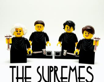 4 Female Supreme Court Justices Custom Figures Crafted With LEGO® Elements - THE SUPREMES + Stands