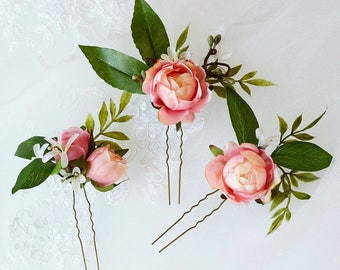 hair clips women, flower hair pins, bridal hair pins, bridal hair flower, pink hair flower, leaf hair pin, pink hair accessorie, rosebuds