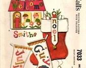 1960s McCall's 7033 Vintage Sewing Pattern Door Tote, Christmas Stockings