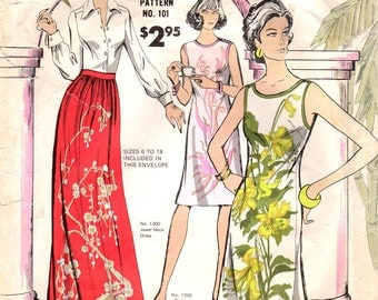 1970s Alfred Shaheen 101 UNCUT Vintage Sewing Pattern Misses Shift, Slim Dress, Hostess Skirt Size 6-8-10-12-14-16-18