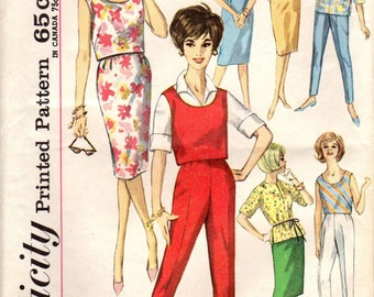 1960s Simplicity 4401 Vintage Sewing Pattern Misses Top, Blouse, Skirt, Pants Size 14 Bust 34
