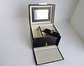Jewelry Travel Case, Makeup Box Purse, Black with lower drawer and mirror, train travel purse valet storage