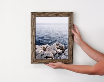 11x14 distressed pine picture frame with dark walnut stain . . . . handmade