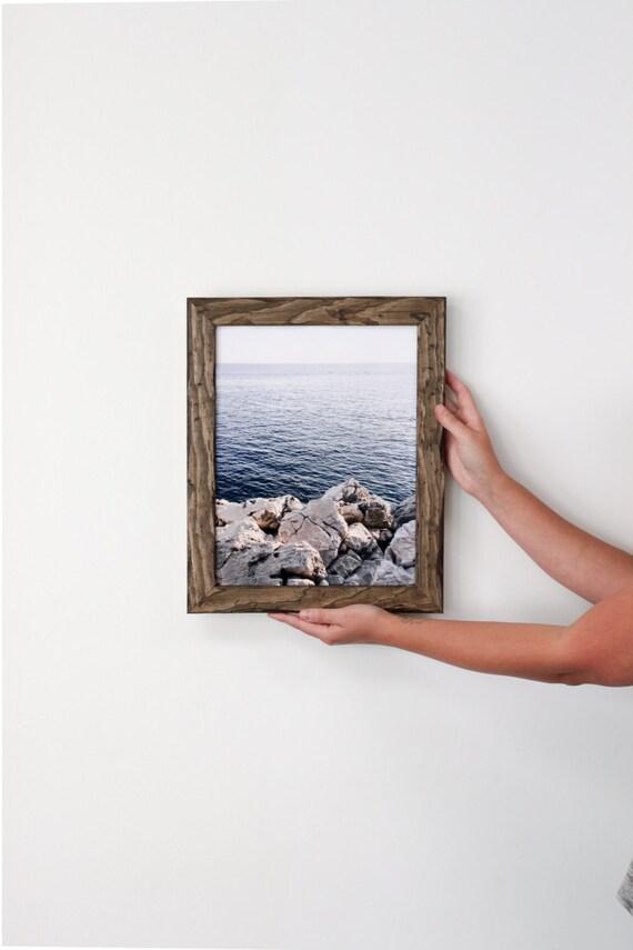 11x14 distressed pine picture frame with dark walnut stain . . . . handmade