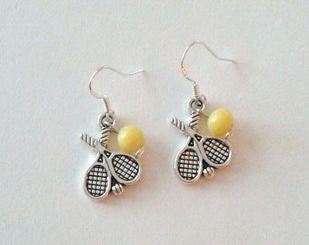 Tibetan Silver Tennis Racket Charm and Vintage Glass Yellow Bead Earrings with Sterling Silver Ear Wires