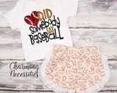 Baseball Sister Top and Ruffle Shorts Set, Fan, Baby Girl, Toddler Girl Clothes, Baby Girl Outfits, Did Sombody Say Baseball Cream