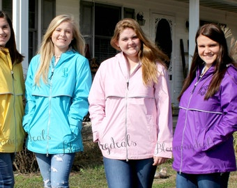 SALE Monogrammed Rain Jacket, Charles River New Englander Monogram Raincoat, Personalized Gift
