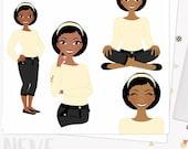 Girl boss clipart, woman character digital blog clipart, planner girl, web graphics, pretty girl, dark skin african american (Neve  L013)