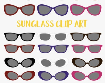 Sunglasses clip art set, sun eye wear in a variety of styles clipart (LC14)