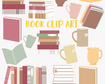 Book worm clip art set, piles and stacks of books, book lover and coffee clipart (LC15)