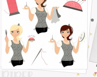 Sewing woman character clipart, embroidery girl, seamstress, crafter, maker, hand stitched, clip art, blonde, brunette, auburn (Piper L167)