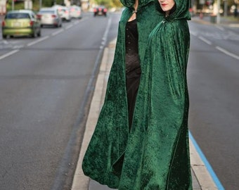 Medium Emerald Green Velvet Cloak