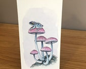 Frog and Mushrooms - Original Art