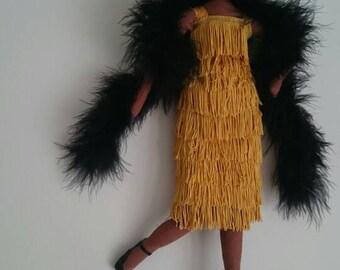 Doris Bailey - Vintage 1920s / 1960s Flapper Jazz Inspired Cloth Textile Art Doll