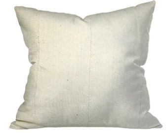 African Solid White Mudcloth Pillow | LIONEL 18x18