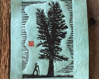 Hiker and Big Tree Linocut Artist Print on handmade paper or topo map
