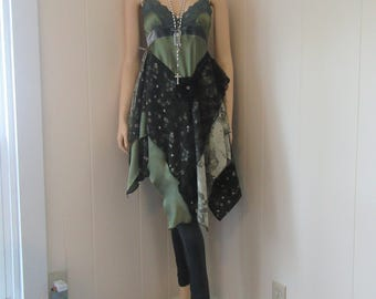 Boho Shabby Vintage Lace & Silk Tunic Dress Green with Gray Velvet and Floral Print Gypsy Eco Chic Size XS - S