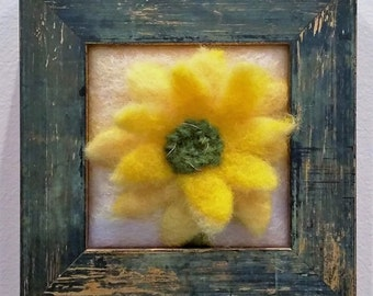 "Felted Wool ""Sunflower Sketch I"" Framed"
