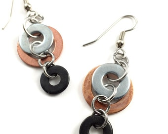 Chandelier Dangle Earrings Mixed Metal Hardware Jewerly Eco Friendly Industrial Copper, Black, and Steel Washers